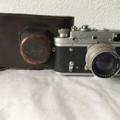 Aparat foto vintage Zorki 4 URSS, etui piele, obiectiv Jupiter-8