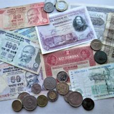 Lot, monede si bancnote vechi, straine: India, Africa de Sud, Spania, Serbia