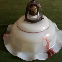 STICLA VECHE ARTDECO - LAMPA CU ABAJUR - STICLA MARMORATA - PIESA DE COLECTIE