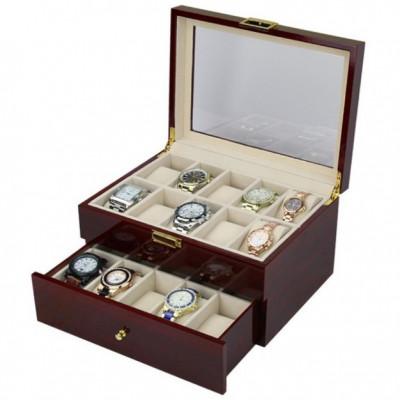 Cutie depozitare 20 ceasuri de mana din LEMN foto