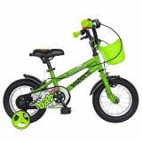 Cumpara ieftin Bicicleta Copii VELORS V1201A, Roti 12inch, cadru otel, roti ajutatoare (Verde)