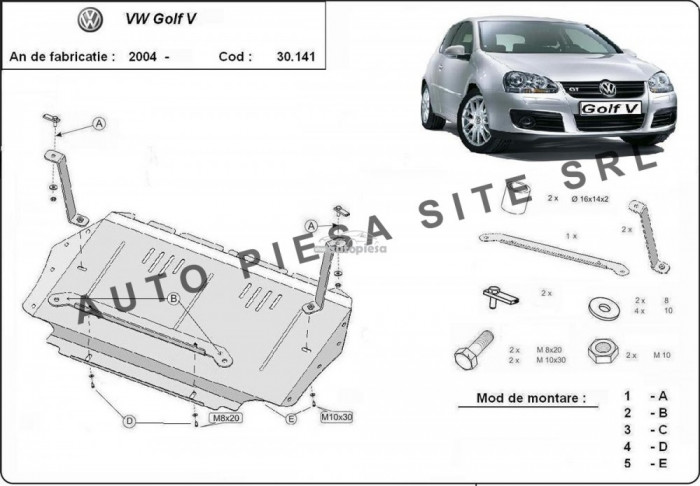 Scut metalic motor VW Golf 5 V fabricat incepand cu 2003 APS-30,141