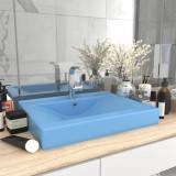 VidaXL Chiuvetă baie lux, orificiu robinet, 60x46 cm bleu mat ceramică