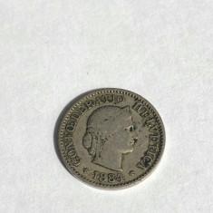 Moneda 5 Rappen 1884 Elvetia