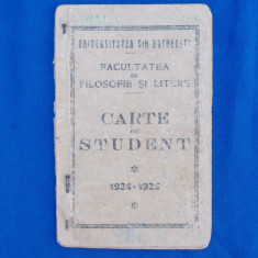 CARTE DE STUDENT , FACULTATEA DE FILOSOFIE SI LITERE , UNIV. BUC. , 1934-1935