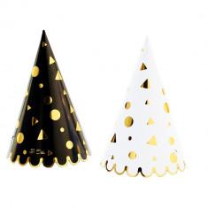 Coif petrecere alb/negru cu auriu pentru petrecere, Radar 45498, Set 6 coifuri