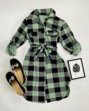 Cumpara ieftin Rochie ieftina casual stil camasa verde deschis cu negru cu carouri si cordon in talie