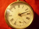 Ceas de buzunar Longines , capace placate cu argint , d.cadran=4cm