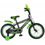 Bicicleta baieti 16 Inch cu frane C-Brake si roti ajutatoare Rich Baby CST16/02C, cadru negru cu design verde