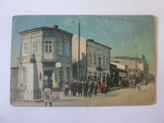 Rosiorii de Vede-Centrul cu statuia M.Mănciulescu,carte postala circulata 1926 foto