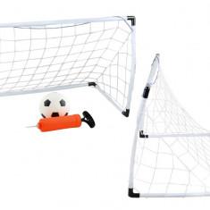Set Joc de Fotbal pentru Copii cu Minge, Pompa si doua Porti cu Plasa pentru Antrenament