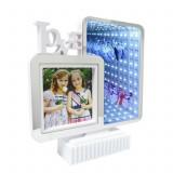 Rama Foto cu Oglinda iluminata LED, efect 3D, 19.5x20x4.5cm, alb, Palmonix