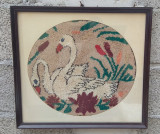 Tablou vechi taranesc goblen broderie lebede
