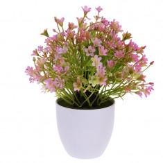 Flori Artificiale Roz in ghiveci alb Rezistente la umiditate Aspect natural D15cm H totala 24cm