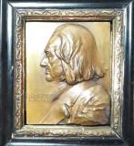 N Placheta veche bronz cu portretul compozitorului Franz Liszt de Franz Stiasny