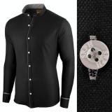 Camasa pentru barbati, neagra, slim fit - Neo Elegance, 3XL, L, M, S, XL, XXL, Maneca lunga