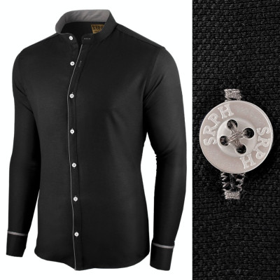 Camasa pentru barbati, neagra, slim fit - Neo Elegance foto