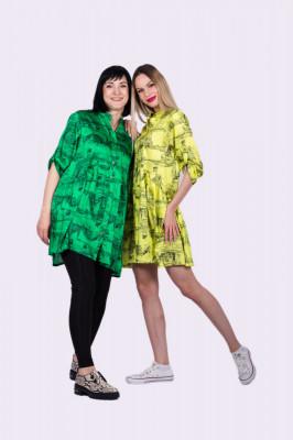 Rochie Trip in Paris verde oversize cu maneci ajustabile foto