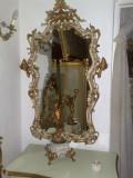Oglinda rococo/baroc venetian, vintage/antica/ludovic/Louis,lemn,sculptata, 1900 - 1949