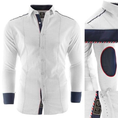 Camasa pentru barbati, alb, Slim fit, casual, cu guler - Cecina foto