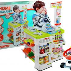 Tejghea supermarket cu casa de marcat, cos de cumparaturi