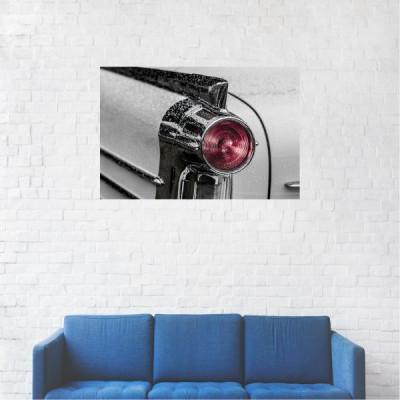 Tablou Canvas, Masina alba, stopuri rosii - 20 x 30 cm foto