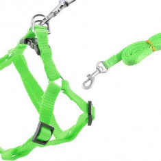 Ham Reglabil si Lesa Detasabila pentru Caini sau Animale de Companie, Culoare Verde, Lungime Lesa 122cm