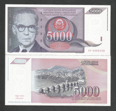 IUGOSLAVIA  5.000  5000  DINARI  DINARA  1991  UNC [1] P - 111 a  ,  necirculata foto
