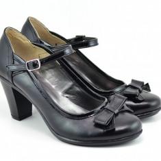 Pantofi dama piele naturala cu funda, eleganti - Made in Romania P13423NF