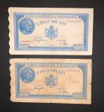 Doua bancnote de 5000 de lei din 2 mai 1944