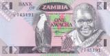 Bancnota Zambia 1 Kwacha (1988) - P23b UNC ( mai rara )