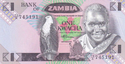 Bancnota Zambia 1 Kwacha (1988) - P23b UNC ( mai rara ) foto