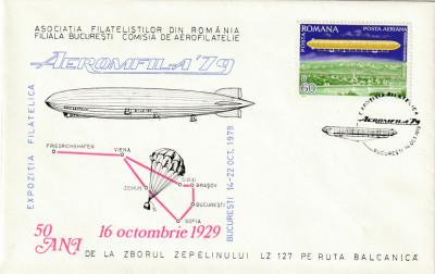 Romania 1979,Aviatie,Plic ocazional,ZEPPELIN , Aeromfila '79-Expo foto