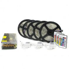 Kit complet 25m banda RGB 60SMD 5050/m telecomanda 24 taste ManiaLight