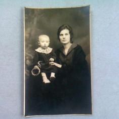 FOTOGRAFIE TIP CARTE POSTALA, MAMA SI COPILUL, ANII '20