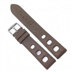 Curea de ceas Alfa din Piele Naturala - Culoare Bej - Model cu Gaurele - 20mm - WZ3981