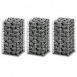 Set gabioane, 3 buc., sârmă galvanizată, 25 x 25 x 50 cm