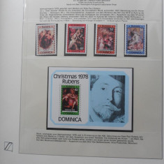 DOMINICA-PICTURI RUBENS-SERIE COMPLETA SI BLOC-NESTAMPILATE, Nestampilat