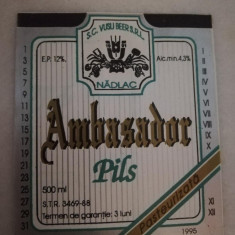 Eticheta bere Romania - AMBASADOR - Nadlac - 1994 !