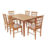 Set de dining, cires/material usor maroniu, GRID 1 si 6