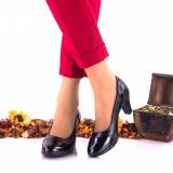 Pantofi dama din piele naturala negri si piele naturala lacuita toc 5cm - NA120, 36 - 40