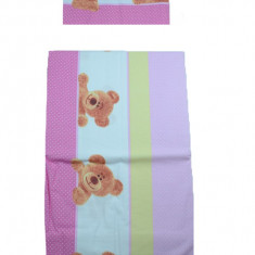 Set lenjerie de pat 2 piese 100 x 135 cm pentru copii IKS 2 SLPSB-20, Roz