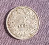 ELVETIA 1/2 FRANCI 1951 ARGINT
