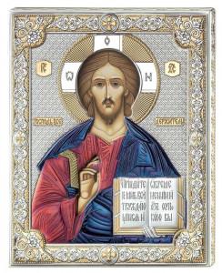 Icoana Iisus Hristos ClassGifts pe Foita de Argint 925 cu AuriuColor 12x15.5cm Cod Produs 1707