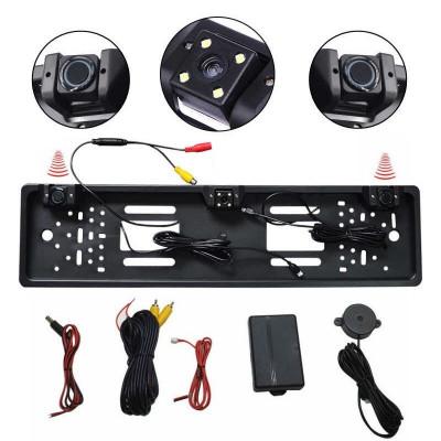 Set senzori de parcare cu camera marsarier pe suport numar kit 2 in 1 spate foto