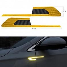 Sticker reflectorizant BUMERANG cu insertie Carbon 5D - GALBEN (set 2 buc)