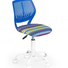 Scaun de birou pentru copii tapitat cu stofa Binta Albastru, l40xA43xH75-87 cm