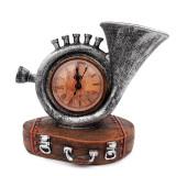 Trompeta cu ceas, asezate pe suport in forma de geamantan, Gri, 616E-1