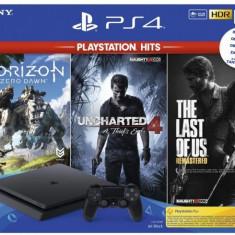 PlayStation 4 Slim Jet Black 1TB (PS4 Slim 1TB) + PS Hits: Horizon Zero Dawn + Uncharted 4 + The Last of Us Remastered