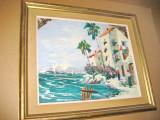 8310-Tablou vintage peisaj tarm marin stil impresionist.